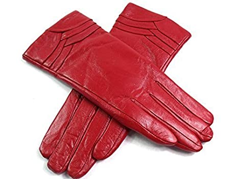 Ladies Soft Genuine Leather Lined Gloves Overlap Detail