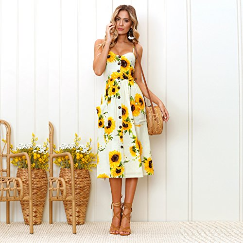 Yellow Neck BOSSAND Down Spaghetti Strap Floral Swing Midi V Summer Dresses Button with Dress Women's Pockets wxxqHUp