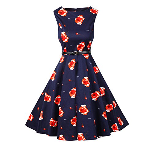 INYAN Women BoatNeck Sleeveless Royal Blue Floral Vintage Dress with Belt 1950s Tea Dress (S, Royal blue)