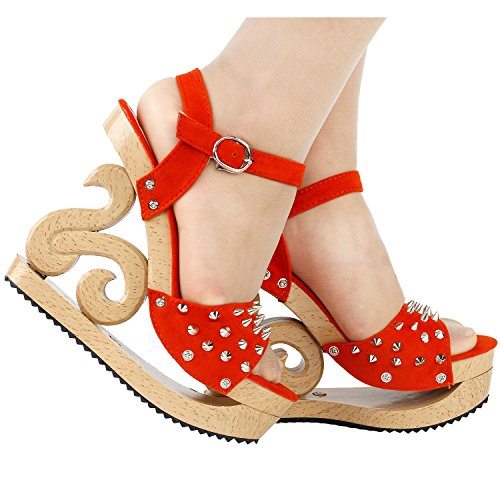 Show Story Gothic Punk Spike Wooden Look Wedge Platform Clogs Sandals,LF30830 Orange
