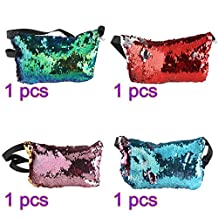 Tinksky 4pcs Sports Bag Casual Bag Waist Pack Waist Bag Double Color Sequins Valentine's Day gift for women girls