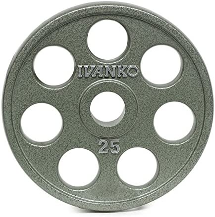 Ivanko E-Z Lift Cast Iron Olympic Plates with Holes – 25 lb. Pair for use with Olympic Weightlifting Bars
