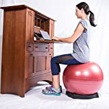 Isokinetics Exercise Ball Chair Seat - 75 cm Yellow Ball - for Height 6'2'' to 6'8'', Ball Base, and Pump
