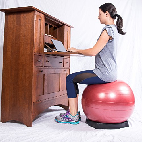 Isokinetics Exercise Ball Chair Seat - 55 cm Blue Ball - for Height 5'1'' to 5'5'', Ball Base, and Pump by Isokinetics Inc.