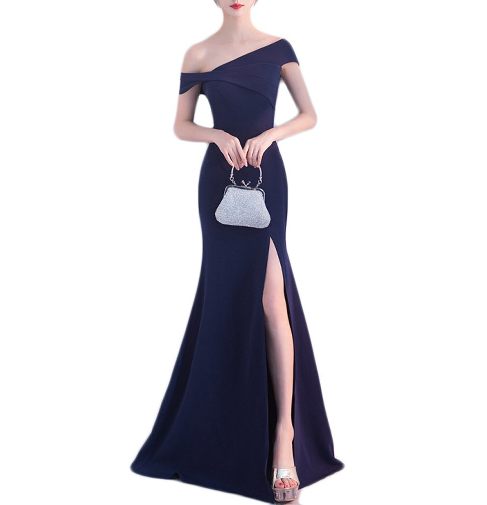 Womens Off Shoulder Evening Dress Long Split Mermaid Wedding Party Gown EV11 Navy Blue Size 10 by GJVBV