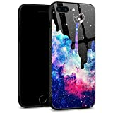 iPhone 7 Plus Case,iPhone 8 Plus Cases Tempered Glass Back Shell Cool Pattern Designed with Soft TPU Bumper Case Fashion for Boys Men Apple iPhone 7/8 Plus Cases -Space Galaxy