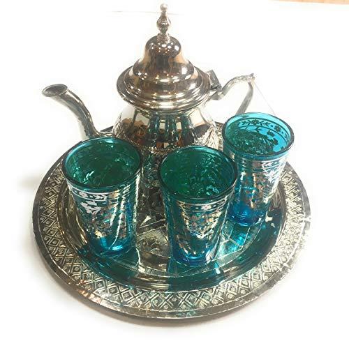 juego de te ; arabe 3 vasos de cristal,1 tetera, 1 bandeja repujada de 25 cm de diametro: Amazon.es: Hogar