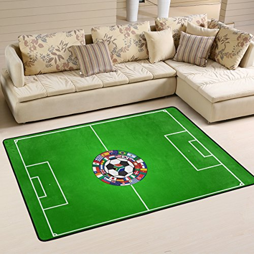 (XiangHeFu Area Rugs Doormats Soccer Field with Ball and Flags Soft Carpet Mat 6'x4' (72x48 Inches) for Living Dining Dorm Room Bedroom Home Decorative)