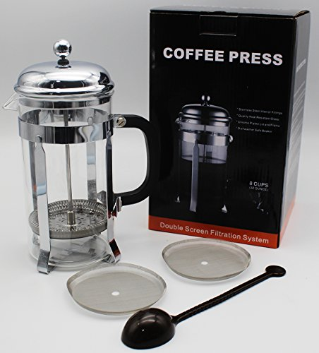 HEY~LIFE French Coffee Press - Stainless Steel Coffee Maker 34oz, 1L With 1 Spoon and 2 Filter by Hey~life (Image #1)