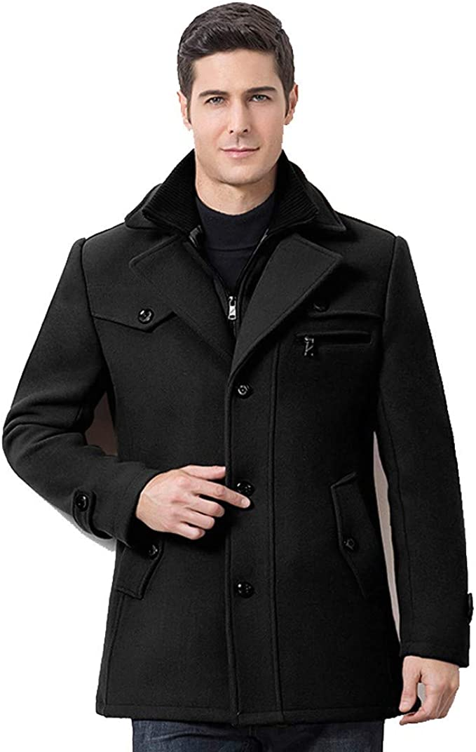 Leather Jackets for Men with Hood.Mens Winter Thickened Warm Woolen Coat Solid Color Business Casual Trench Coat