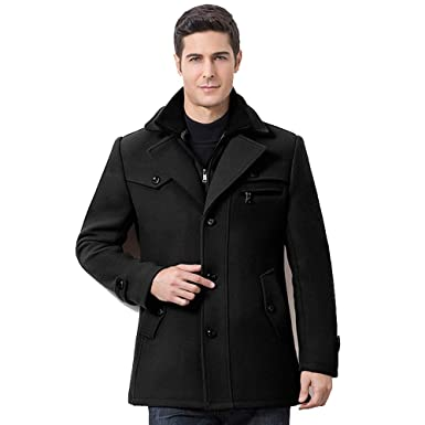 8a0f86d9cd7 Leather Jackets for Men with Hood.Mens Winter Thickened Warm Woolen Coat  Solid Color Business