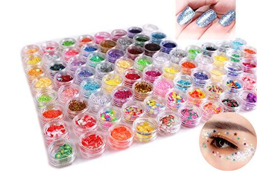Kalolary Nail Art Slice-84 Pack Nail Art Decorations Beauty Tool Include Fruit Flower Candy Slices,Star Type, Heart-Shaped Type, Snowflake Type, Round Type Slice,Glitter Dust Powder for DIY Nail Art -