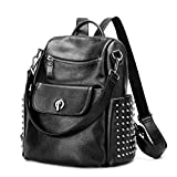 Leather Backpack for Women, Wraifa Washed Leather Handbag Satchel Shoulder Bag
