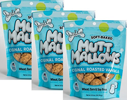 The Lazy Dog Cookie Co. Lazy Dog Mutt Mallows Soft Baked Dog Treats Original Roasted Vanilla 5 Oz - Safety Sealed 3 Pack