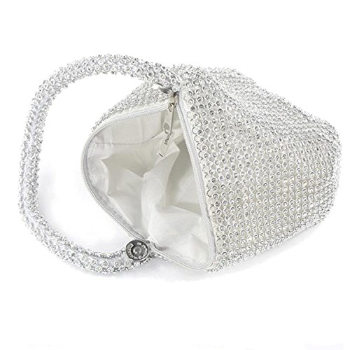 Girl Women Bridal Bags Ladies Xardi Clutch Beaded Pouch Small Purse Evening Silver London Wristlets w40qv