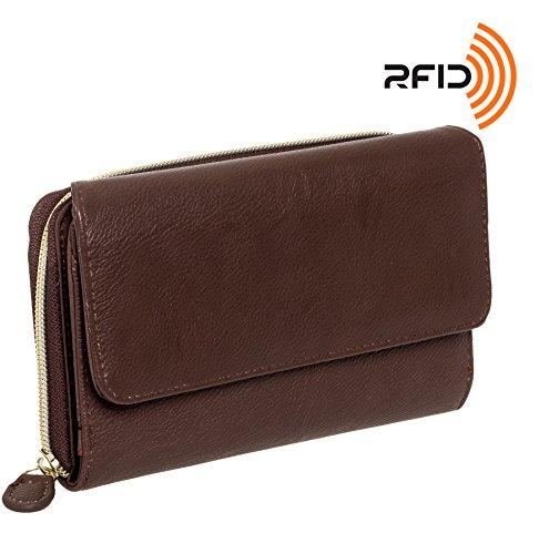 Mundi Womens My Big Fat Safe Keeper RFID Clutch Wallet w/Calculator (Brown)