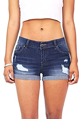 Wax Women's Juniors Body Enhancing Denim Shorts