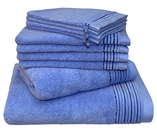 Juliet Pack 10 – 1x Bath Towel 70 x 140, 1x hand towel 50 x 100 4 x 33/50 and 4x Washing Mitts 16/21 black LASAHOME