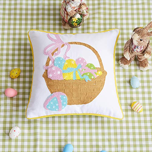 Cassie Home Happy Easter Day Throw Pillow Covers 18x18Inch 3D Handmade Easter Decoration Spring Colorful Easter Eggs in The Basket 100% Cotton Canvas Throw Pillow Case (Easter Basket Cover)