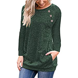 Halife Women's Raglan Long Sleeve Tunic Shirt with Pockets Buttons Casual Top Blouse