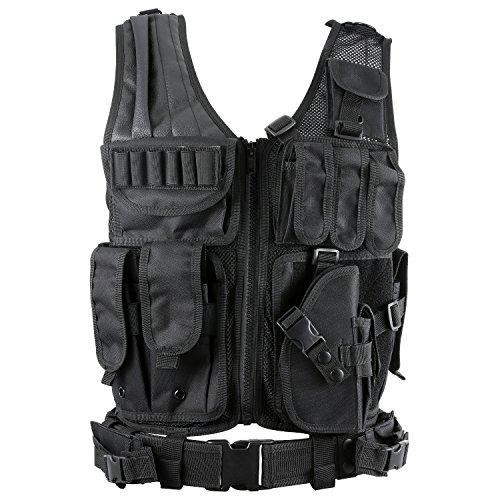 Barbarians Tactical Molle Vest Military Airsoft Paintball Vest Assault Swat Vest Adjustable Lightweight(Black)