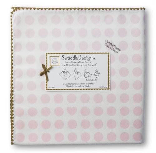 (SwaddleDesigns Organic Ultimate Swaddle, X-Large Receiving Blanket, Made in USA Premium Cotton Flannel, Dots and Hearts with Mocha Trim, Pastel Pink (Mom's Choice Award Winner))