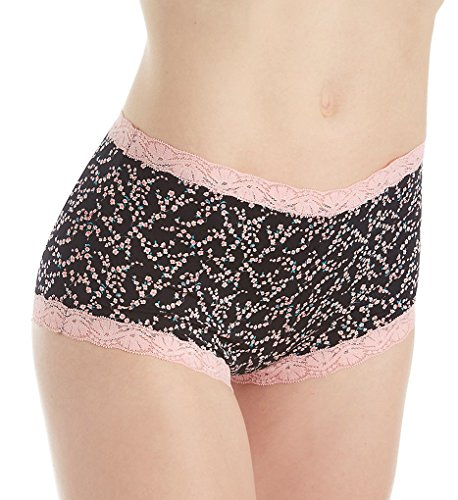 Maidenform Classics Hip Fit Micro with Lace Boyshort Panty (40760) 5/Cherry Blossom/Black - Blossom Panty