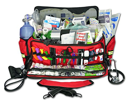 Lightning X Jumbo Oxygen Medic First Responder EMT/EMS Bag Stocked Trauma Kit LXMB50-SKD (Red) ()