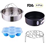 Kaviatek Core Accessories Set for Instant Pot, Fits 6/8 Qt Instant pot Pressure Cooker, 4-Pcs with Steamer Basket/Egg Steamer Rack/Egg Bites Molds/Non-stick Springform Pan, Best Gift Idea