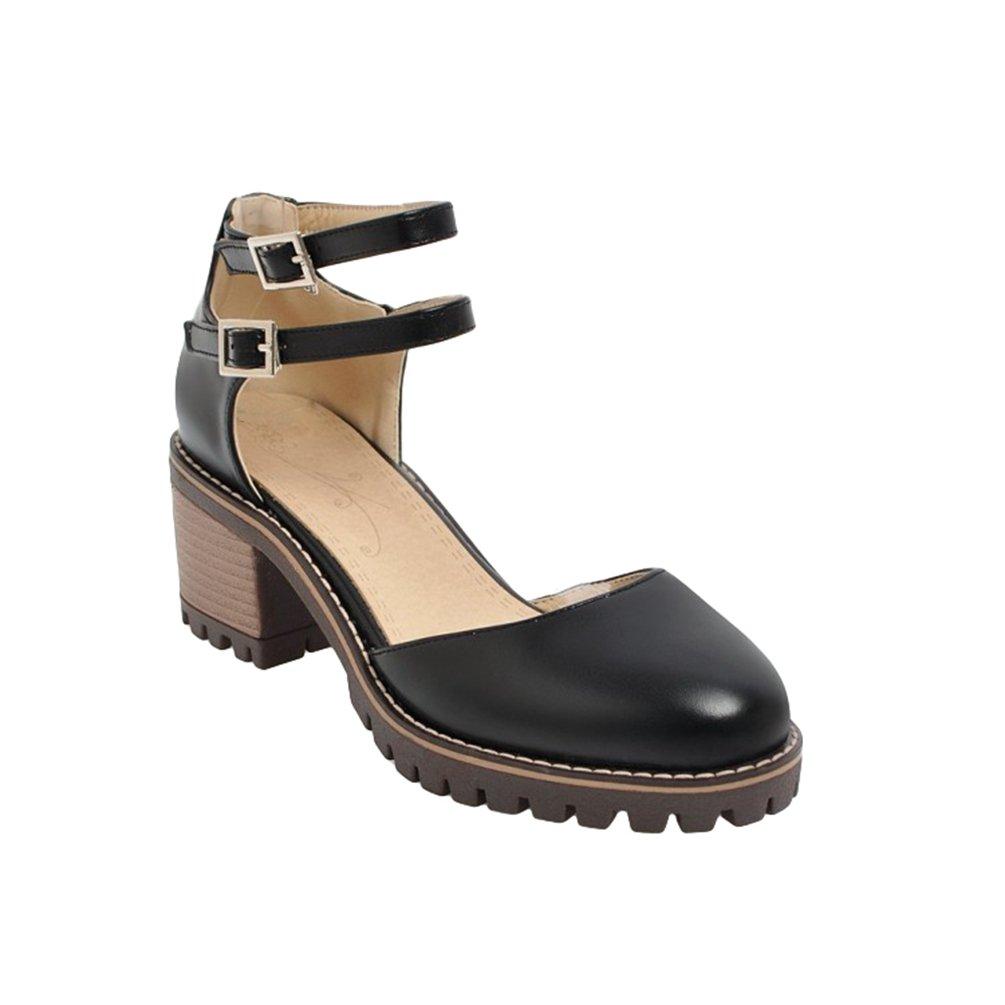 Xinwcang Scarpe con Tacco Grosso Donna Elegante Cinturino Caviglia Tacco Alto Nero