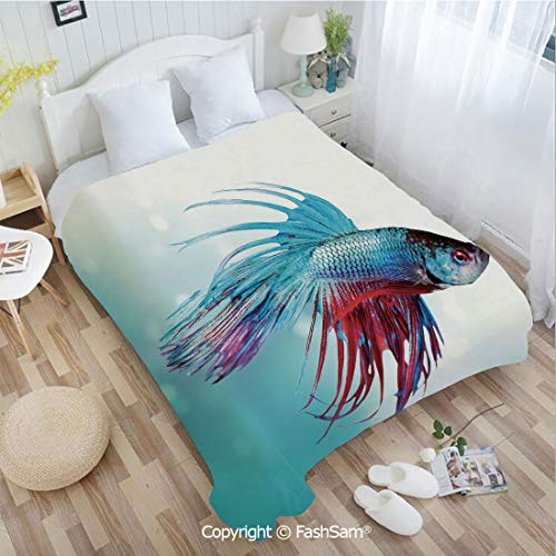 (PUTIEN Flannel Fleece Blanket with 3D Siamese Fighting Betta Fish Swimming in Aquarium Aggressive Sea Animal Decorative Perfect for Couch Sofa or Bed(49Wx59L))