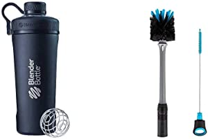 BlenderBottle Radian Insulated Stainless Steel Shaker Bottle, 26- Ounce, Matte Black & 2-in-1 Bottle and Straw Cleaning Brush