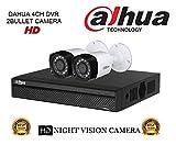 Dahua HDCVI DH-HCVR4104HS-S2 4CH DVR + Dahua HDCVI DH-HAC-HFW1000RP-0360B Bullet Camera 2Pcs Combo