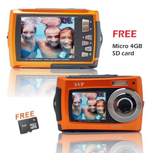 SVP Aqua 5800 Orange (with Micro 4GB) 18 MP Dual Screen Waterproof Digital Camera