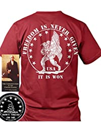 Sons of Libery Freedom is never given, it is won. Military . T-Shirt. Made i...