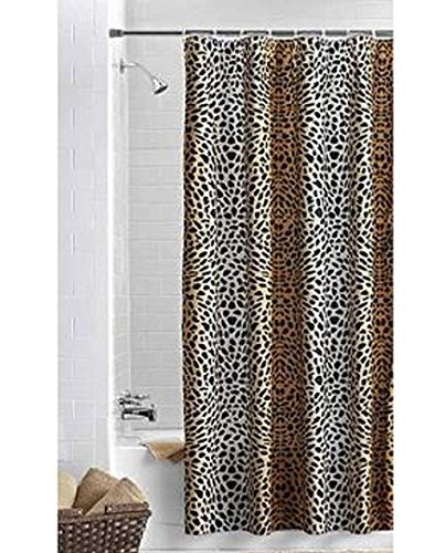 - Ombre Cheetah Black Brown Fabric Shower Curtain