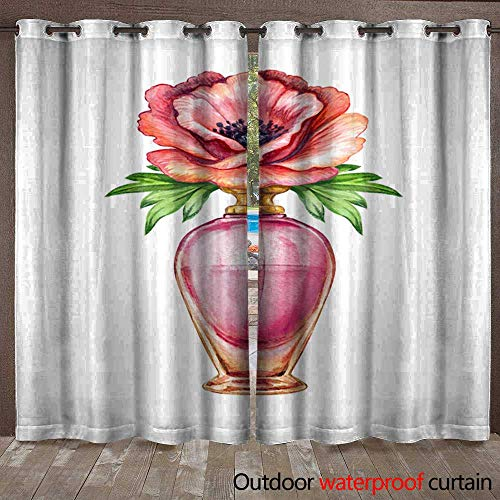 (Grommet Top Curtain Watercolor Perfume jar Set Vivid Glass Scent Bottles Clip Art Fashion Illustration Isolated on White Background Waterproof CurtainW120 x L96)