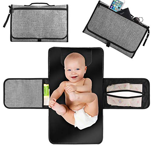 Portable Diaper Changing Pad, Waterproof Baby Changing Mat,Baby Diapering Travel Mat Station for Toddlers Infants & Newborns, Large Storage Pockets for Diapers Wipes Creams Essentials.