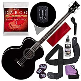 Dean Acoustic-Electric Bass, Classic Black with Guitar Care Kit & Accessory Bundle