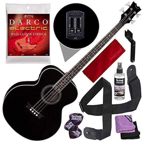 Dean Acoustic-Electric Bass, Classic Black with Guitar