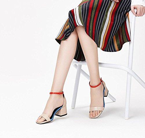 Sko Pumper Hæle Komfortable Kvinder Ord Nye Mode Ximu Tykke Abrikos Sommer Sandaler Komfortable OzgaP