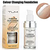 TLM 30ml Flawless Colour Changing Warm Skin Tone Foundation Makeup Base Nude Face Moisturizing Liquid Cover Concealer
