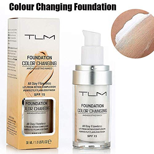 TLM Colour Changing Foundation, Flawless Color Changing Foundation Makeup Base Moisturizing Liquid Foundation for Women Girls SPF15, Sunscreen, Non-greasy, Non-marking, Long lasting(1Pack) (Best Moisturizing Makeup Foundation)