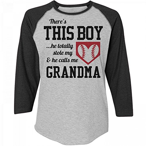 Customized Girl A Baseball Grandma's Love: Ladies Relaxed Fit 3/4 Sleeve Raglan Tee - Womens All Star Rib Raglan