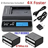 Kastar Ultra Fast Charger(4X faster) Kit and Battery (2-Pack) for Sony NP-F970 NP-F960 F960 and DCR-VX2100 HDR-AX2000 FX1 FX7 FX1000 HVR-HD1000U V1U Z1P Z1U Z5U Z7U FS100U FS700U and LED Video Light