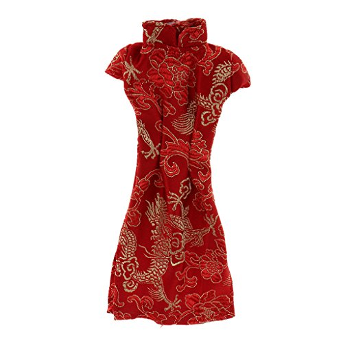 MagiDeal Stunning Handmade Red Chinese Cheongsam Clothes for Barbie Doll