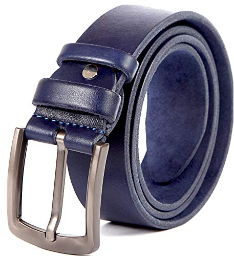 """Heavy Duty 10 oz Full Grain Men Leather Belt 100% Thick Solid Cow Leather. Durable and strong. (Medium>>33-37"""" waist, Blue. 1.5"""")"""