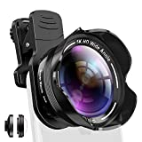 Phone Camera Lens Kit 2 in 1 Pro Camera Lens Kit 15X Macro 5K HD 0.56X Wide Angle for iPhone X XR XS Max 8 7 6S Plus Samsung with Bag and Travel Case