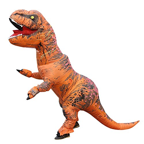 T-Rex Dinosaur Inflatable Costume for Unisex Adults Teens Blowup Fancy Outfit Original Brown