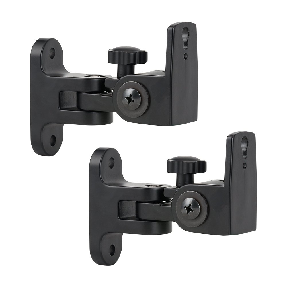 GLANICS Universal Speaker Mount,Wall Mount,Speaker Brackets with Swivel and Tilt, Zinc Alloy, Black, 2 Pack by GLANICS